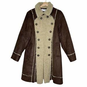 Tasha Polizzi Suede Sherpa Jacket Brown/Tan XL